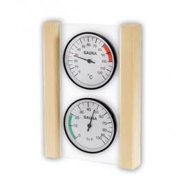Thermomètre Hygromètre de sauna EOS rond fond blanc sur verre et bois design
