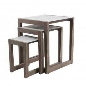 Set mit 3 SKAAL-Nesttischen aus Duratek-Teakholz - HPL-Tischplatte aus gewachstem Beton