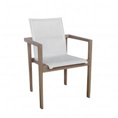 SKAAL stapelbarer Sessel aus Duratek Teak und Batyline Eden Canvas Heidekraut weiß