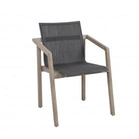 SKAAL 56x56cm stapelbarer Sessel aus Duratek Teak und Batyline Eden Canvas Heidegrau