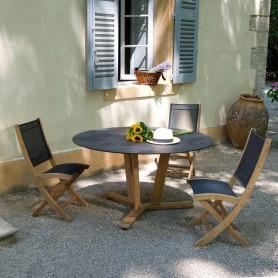 TEKURA runder Tisch aus Teakholz - HPL Schieferplatte