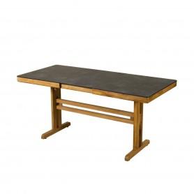 TEKURA Balkontisch mit Schmetterlingsverlängerung und Teak-Mittelbein - HPL-Schieferplatte