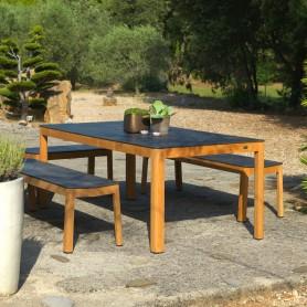 TEKURA Tisch 200x95cm aus Teakholz - HPL Schieferplatte