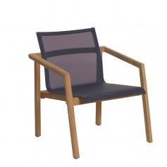 TEKURA niedrig stapelbarer Sessel aus Teakholz - Batyline Schiefersitz