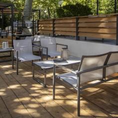 BASTINGAGE niedrig stapelbarer Sessel aus Aluminium