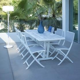 AMAKA ausziehbarer Balkontisch 4/6 Sitzplätze 145-185cm mit Lattenrost