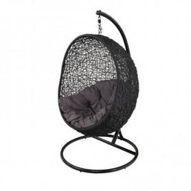 Runder hängender Stuhl in Schwarz Metall